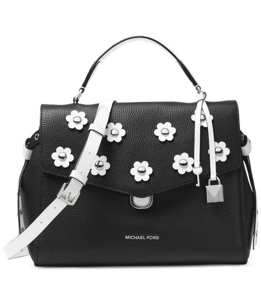 22c878f258474 S l1600. S l1600. Previous. NWT Michael Kors Bristol Flower Medium Top  Handle Leather Satchel Black Silver