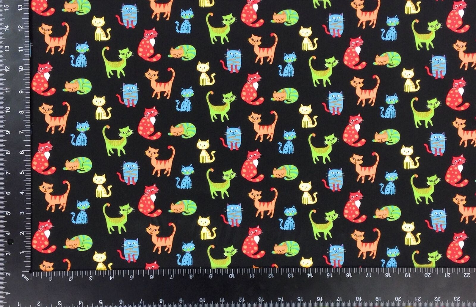 Happy Paws Cats Multi Black 100% Cotton High Quality Fabric Material 3 Sizes