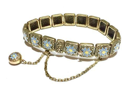 1887 Victorian 15k Mosaic bracelet Forget Me Not flowers charm fob