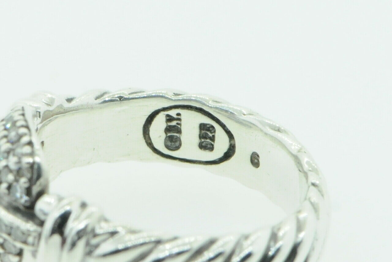 DAVID YURMAN Sterling Silver Madison Ring with Paved Diamond Buckle (Size 5 3/4)