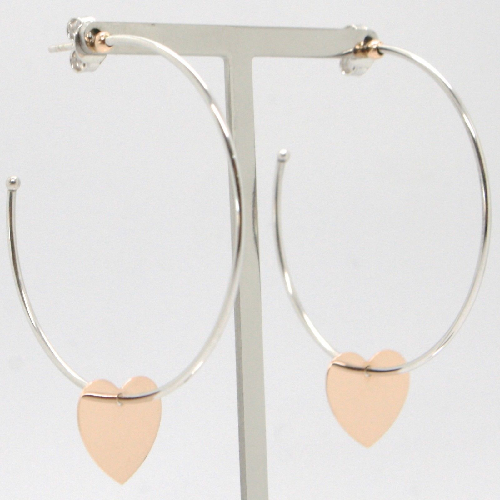 18K WHITE ROSE GOLD PENDANT CIRCLE HOOPS EARRINGS WITH FLAT HEART, MADE IN ITALY