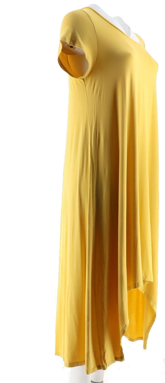 Halston Hi-Low Hem Short Slv ScoopNeck Knit Maxi Dress Chartreuse XS NEW A274136