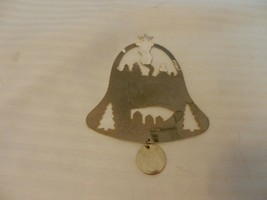 Duchin Holiday Nativity Scene 1983 Flat Gold Tone Metal Ornament Bell Shape - $14.85