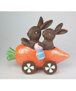 "5.5"" Long Faux Chocolate Easter Bunny Rabbits Sitting in Carrot Car East... - $15.79"
