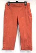 Womens Talbots Petites Stretch Orange Flat Front 2 Button Size 6P Capri ... - $13.24