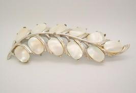 VINTAGE Silver tone MOP Leaf Brooch signed-bridal wedding jewelry - $12.97