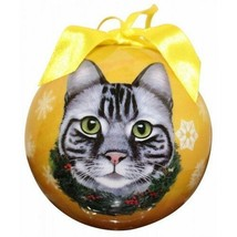 Silver Tabby Cat Christmas Ornament Shatter Proof Ball Yellow Snowflakes... - $9.89