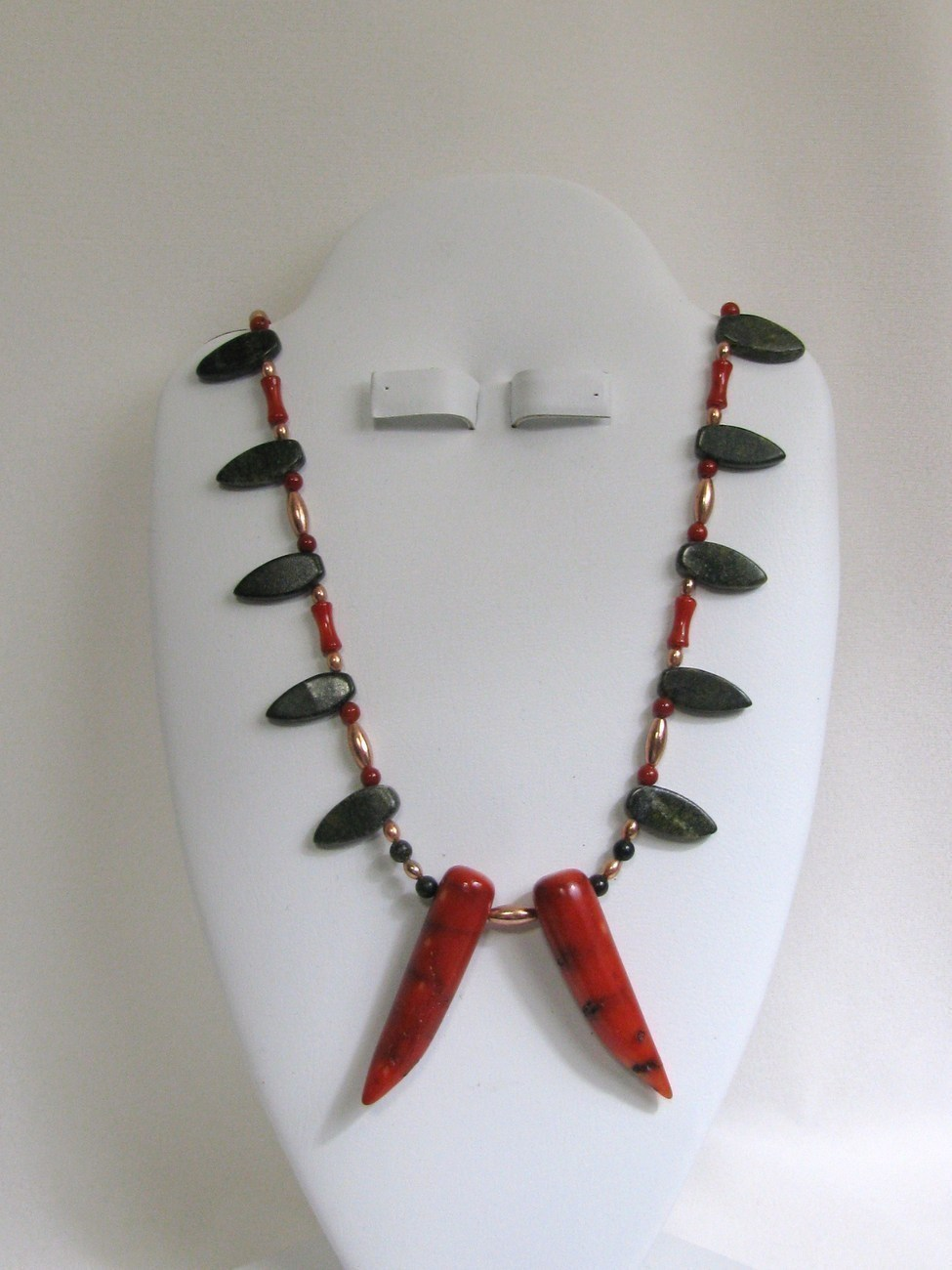 Primary image for Coral and Serpentine Hot Pepper Copper Necklace RKM203