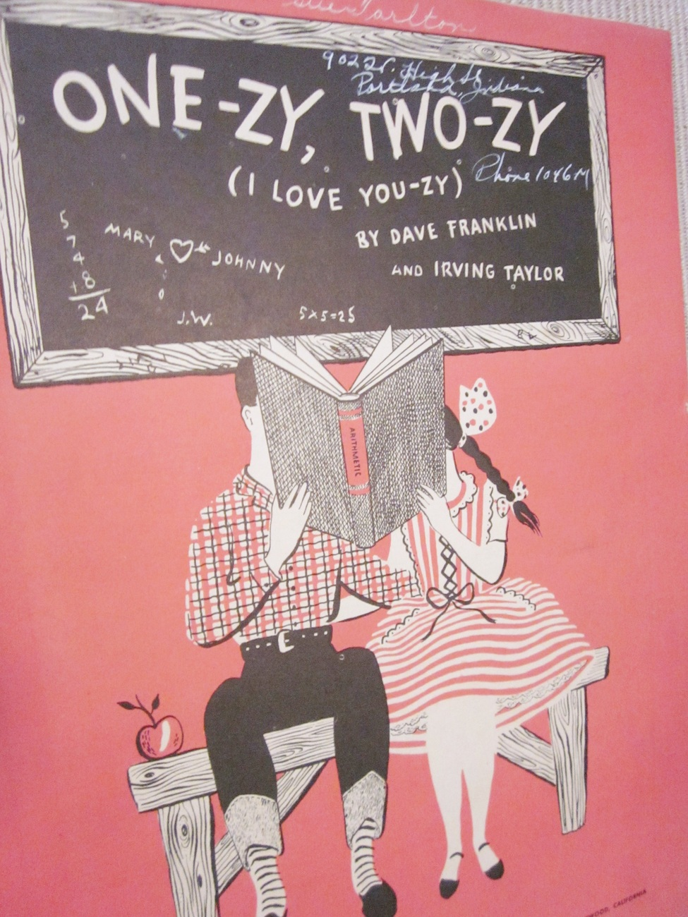 Vintage Sheet Music One-zy, Two-zy I love You-zy by Franklin & Taylor 1946