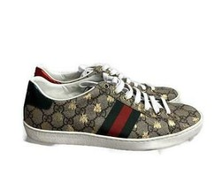Gucci Iconic Ace Gold Bee Lace Up Athletics Trainers Sneakers Flats 9.5 ... - $432.39