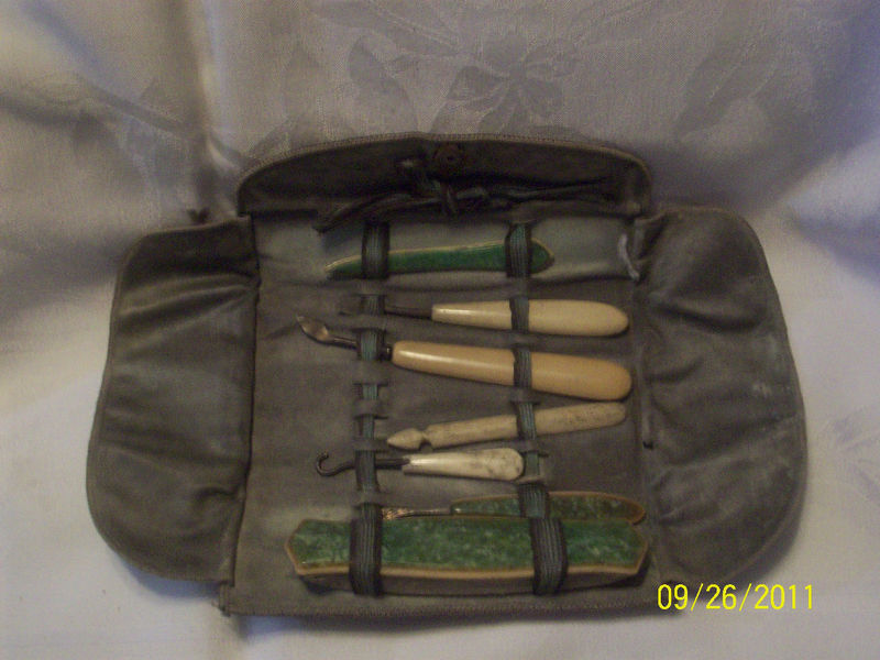 Antique Vintage Manicure Accessory Kit with Bakelite ? Handles