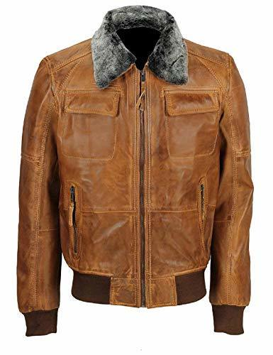 Mens A2 Aviator Pilot Fur Collar Air Force B3 Brown Bomber Faux Leather Jacket