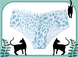 L  Blue Aqua Leopard NO SHOW Raw Edges Seamless Victorias Secret Cheeky ... - $10.99