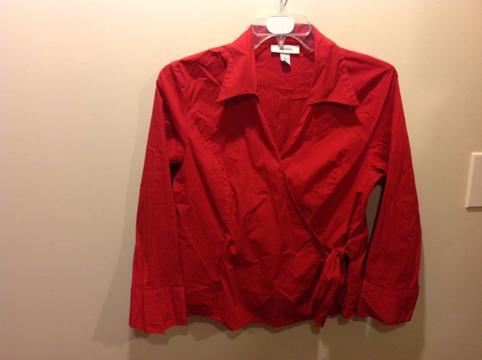 Dressbarn Bright Red Collared Blouse w Unique Design Sz XL