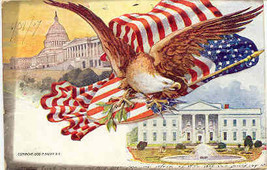 American Eagle and Flag Forever 1906 Vintage Post Card   - $7.00