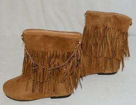 Styluxe Scream Tan Suede Girls 10 Fringe Boots With Chain Plus 3 Charms image 5