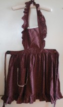 Ruffled Pinafore Apron, Brown Full Apron, Full Apron with flowers, Floral - $25.00