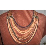 Multi-Strand Drape Coconut Shell Bead Necklace - $30.00