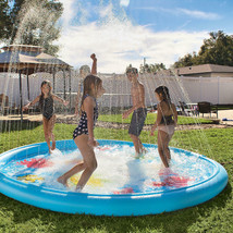 Heavy-Duty Giant Splash Pad Inflatable 10ft Diameter Wading Pool with S... - $83.15