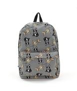 "Boston Terrier Gray Canvas Backpack-Tan + Black Terriers 16""x13""x5"" Top ... - $24.95"
