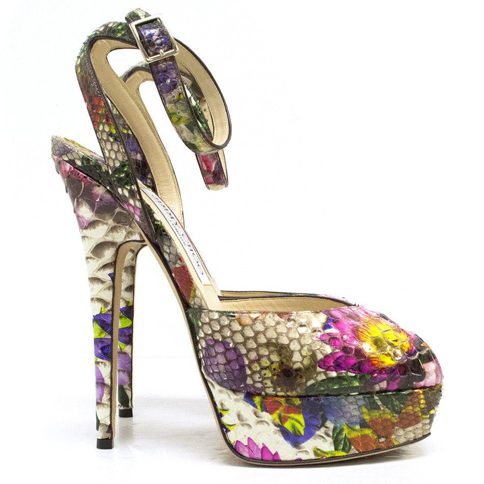 $1495 Jimmy Choo Lola Peep Toe Sandals Floral Flower Python Platform Pumps 38.5