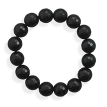 Faceted Black Onyx Stretch Style Bracelet - $17.99