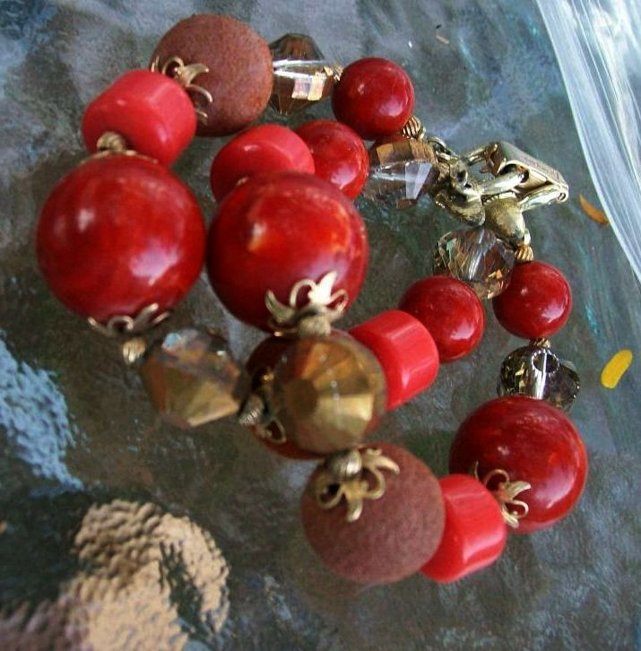 Shades of summer Red bracelet Made from vintage findings