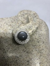 Vintage Handmade Genuine Gray Moonstone 925 Sterling Silver Button Earrings - $106.93