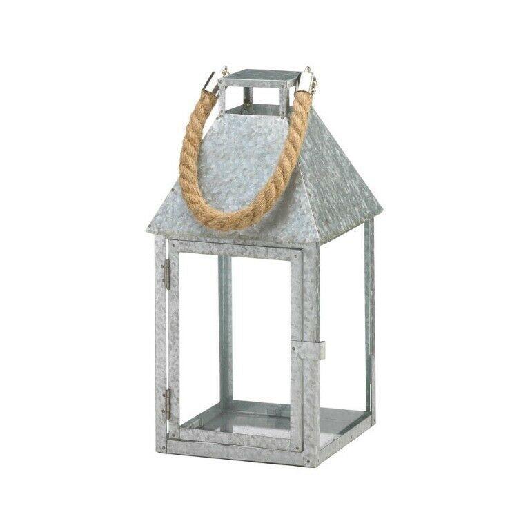 Lot of 4 Large Galvanized Iron Farmhouse Style Candle Lanterns w/ Rope Handle