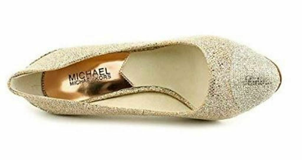 Women's Shoes Michael Kors SINCLAIR PUMP Stiletto Heels Glitter SAND Glamour image 4