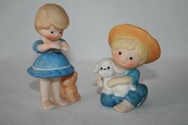 ENESCO Country Cousins Set/2 Figurines Scooter w/ Lamb & Katie w/ Kitten #2101 - $18.00