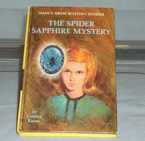Nancy Drew #45 The Spider Sapphire Mystery Vintage Yellow Spine Matte PC