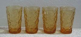 4 Anchor Hocking Honey Gold Amber Lido Juice Glasses - $9.99