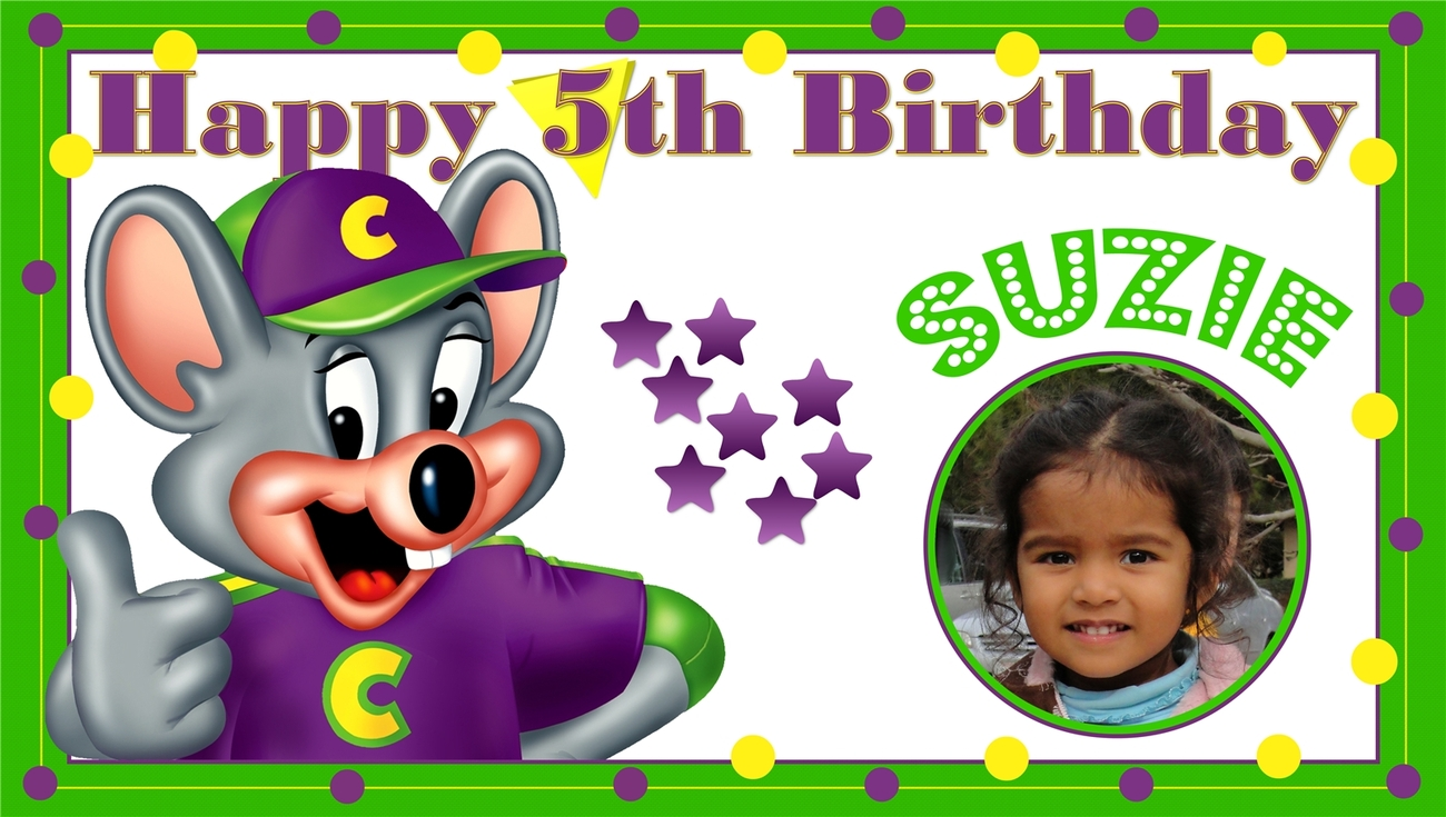 Chuck E. Cheese -Custom- Vinyl Birthday Banner w/ Photo