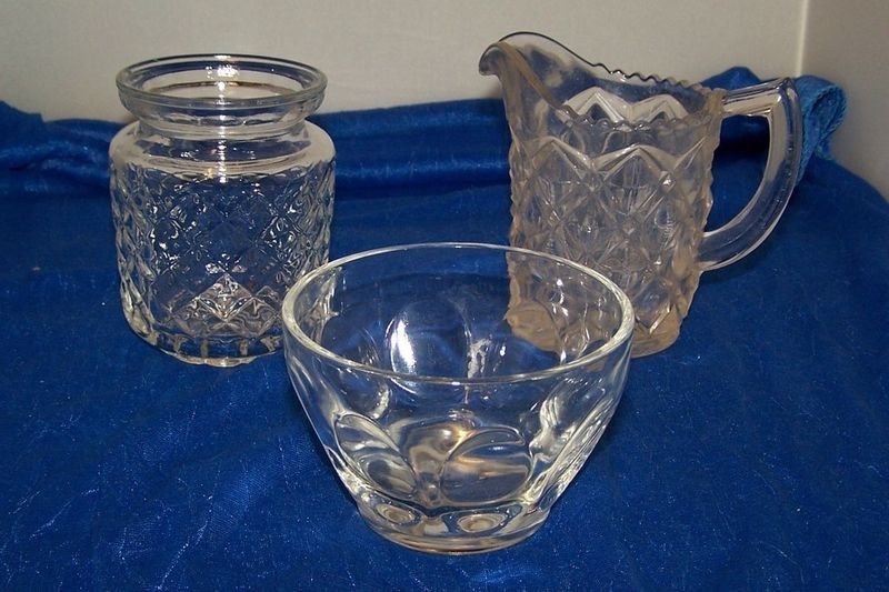 3 Piece Glass Dishes Pitcher, Bowl And Jar