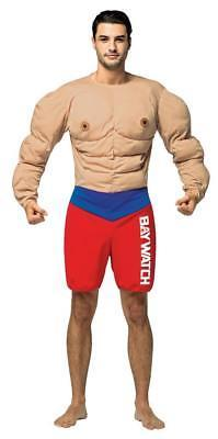 Baywatch Lifeguard Costume Muscles Adult Funny Halloween Party Unique GC3909