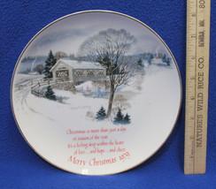 1979 Christmas Plate American Greetings Collectors Winter Ice Skating Bridge - $11.87