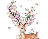 Flowers Deer Rabbit Wall Stickers DIY Wall Decals For Kids Room  Baby Room Deco