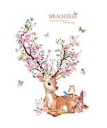 Flowers Deer Rabbit Wall Stickers DIY Wall Decals For Kids Room  Baby Ro... - $13.56