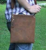 "Men's Genuine Leather Cowhide Vintage Brown 11"" Satchel Shoulder Messeng... - $50.09"