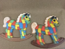 2 VTG Homco Quilted Horse Wall Childrens Nursery Foam Craft Patchwork Plaque - $18.65