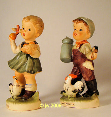Royal Crown Farm Frolics Figurines Boy Girl Rooster