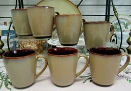 """Sango Nova Brown 4"""" Mugs #4933 Set Of Seven - $21.73"""