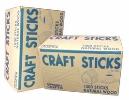 2 Sealed Boxes of 1000 Bulk Natural Wood Popsicle Sticks / Craft Sticks - $24.40