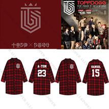 Kpop TOPP DOGG Red Long Plaid Shirt Tops Women Blouse 3/4 Sleeve Overshi... - $19.52