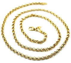 9K YELLOW GOLD CHAIN ROLO CIRCLE LINKS 3.5 MM THICKNESS, 20 INCHES, 50 CM image 2