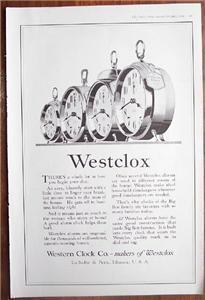1919 Vintage Westclox - Four Alarm Clocks Ad