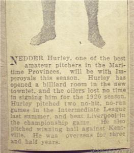 1920 Nedder Hurley Pitcher Halifax Imperoyals Baseball Newspaper Clipping