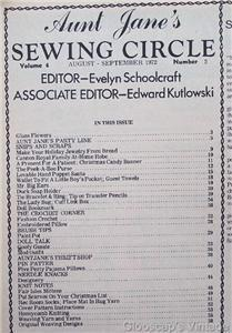 Aunt Jane's Sewing Circle Magazine, Aug Sep 1972 V4 No2