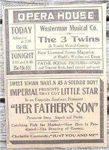 1917 Opera House & Imperial Theater Saint John NB Ad